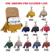 poşet düğme çantası toptan satış-Anahtarlık ile Airpods Pro Koruyucu Kılıf Airpods3 Metal düğme deri kapak Kulaklık çanta Anti-kayıp kümesi için Püsküller deri kılıf
