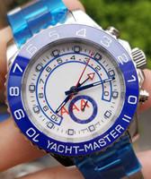 44mm golduhr luxus großhandel-Blaue Designer-Uhr 44mm Automatikuhrwerk Luxus Mechanisch Herren Edelstahl Uhren Saphirglas YACHT Armbanduhren