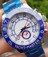 vidro azul safira venda por atacado-Relógio de Designer azul 44mm Movimento Automático Luxo Mens Mecânica Relógios De Aço Inoxidável de Safira relógios de Pulso YACHT