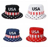 yürüyüş kapakları toptan satış-Trump 2020 Balıkçı Şapka Erkekler Hip Hop Kova Şapka Amerikan Başkanı Seçim Nakış Yürüyüş Kapakları Kadın Seyahat Güneş Şapka TTA1806