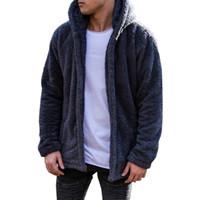 sudadera con capucha de piel para hombre al por mayor-Sólido Hoodies Men 2019 Chaqueta de invierno de moda de los hombres gruesos con capucha sudadera masculina Warm Fur Liner Sportswear chándales para hombre abrigo