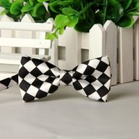 Wholesale boys bowties resale online - pieces polyester Child bow ties plaid black white butterfly boys bowties