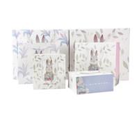 ручная подарочная сумка для ручек оптовых-Rabbit Printed Paper Gift Bag with Handle Cute Cartoon Rabbit Bunny Easter Gift Candy Bag Pink Blue