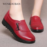 Wholesale lace female moccasins resale online - Women Flat Shoes Ladies Loafers Casual Moccasins Soft Genuine Leather Platform Shoes Female Slip On Shoes Zapatos Mujer Big