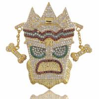 ingrosso micro aprire il fascino-New Iced Out UKA Maschera Pendente solido Collana Mens Personalizzato Micro pavimentato Hip Hop Oro Argento Colore Bling Charm Catene Gioielli