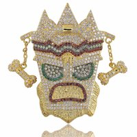chaînes solides pour hommes achat en gros de-Nouveau Iced Out UKA Masque Pendentif Solide Collier Hommes Personnalisé Micro Pavé Hip Hop Or Argent Couleur Bling Charme Chaînes Bijoux
