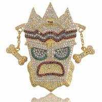 cadenas sólidas para hombre al por mayor-Nueva Iced Out UKA Máscara Colgante Sólido Collar Para Hombre Personalizado Micro Pavimentado Hip Hop Oro Plata Color Bling Charm Chains Joyas