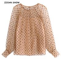 camis largo al por mayor-2019 Primavera Nuevo Cuello Redondo Terciopelo Negro Lunares Camisa de Malla Caqui Con Camis Mujeres de Manga Larga Ver a través de Blusa Tops blusas