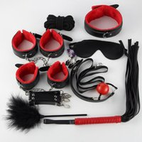 látigos adultos al por mayor-Lencería sexy Pu Leather Bdsm Mujeres Sex Bondage Set Esposas Footcuff Whip Rope Adult Erotic Sex For Woman Couples