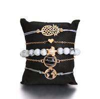 perlen rosa armband großhandel-5 Stück Armband Geflochtenes Seil Armband Wasserdichte String Ocean Surfer Armband Perlen Boho Kette Perlen Gold Silber Rose Überzogene bea015