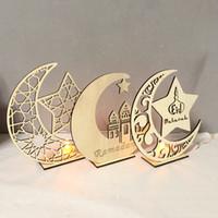 ornement de lune achat en gros de-Forme de lune Artisanat Eid Mubarak Ramadan Party Ornement Découpe Au Laser De Décoration Avec Cinq Étoiles En Bois Matériel Le Nouveau 7 5yfa C1