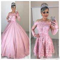 Wholesale detachable train quinceanera dresses resale online - Pink Quinceanera Dresses Detachable Train Elegant Off Shoulder Scalloped Neckline Long Illusion Sleeves Satin Sweet Princess Ball Gown