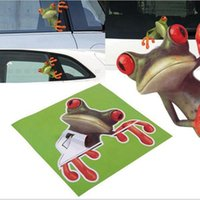 Wholesale frog car stickers resale online - 3D Stereo Cute Frog Funny Car Window Stickers Toilet Wall Decoration Removable Decal Vinyl Art DDA291