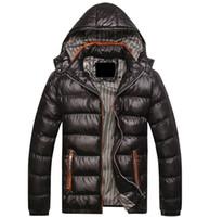 chaqueta térmica delgada al por mayor-Chaquetas de invierno de piel de sierra con capucha de los hombres ocasionales Parkas hombres abrigos gruesos térmicos abrigos brillantes Slim Fit marca de ropa