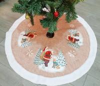 saia de árvore de natal de avental venda por atacado-Árvore de natal saia papai noel elk carpet partido ornamentos decoração de natal para casa xmas árvore saia aventais