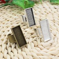 Wholesale bezel ring base for sale - Group buy base x25mm Inner Size Metal Copper Rectangle Blank Setting Bezel Blank Cabochon Base For DIY Ring K02547