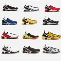 ingrosso scarpe da corsa formato 35-Sneaker Sneaker unisex lavorato a maglia da uomo in tessuto Jersey Sneaker slip-on blu Sneakers a rete nera uomo in esecuzione scarpe casual con taglia 35-46
