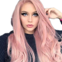 Wholesale pink knot resale online - Full Lace Human Hair Wig Pink Color Bleached Knots Brazilian Remy Lace Front Human Hair Wigs With Baby Hair