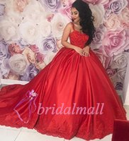 Wholesale black white formal ball online - Elegant Red Prom Dresses Sweetheart Appliqued Lace Quinceanera Ball Gown Beaded Satin Dubai Arabic Long Formal Evening Dress Celebrity