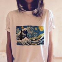 kadınlar beyaz tişörtler toptan satış-Kadın Giyim Kadın Gömlek Vincent Van Gogh Baskılı Komik Beyaz Tshirts Harajuku Kimono Kadınlar Grafik Tees Japon Stili Tops