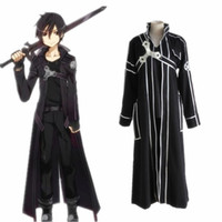 Wholesale costume sao for sale - Group buy 2019 Sword Art Online SAO Cosplay Costume Kazuto Kirigaya Kirito Halloween Full Sets Outfit Set With Wig For Men Costumes S XL
