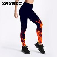 Wholesale fire burning for sale - Group buy C3497 Girl New Burning Fire Flame Black Prints Elastic Slim GYM Fitness Women Sport Leggings Yoga Pants Trousers Plus Size