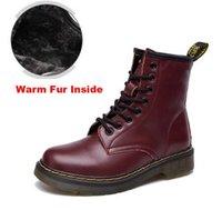 büyük çizmeler toptan satış-Sıcak satış-Büyük boy 35-46! Dr Hakiki Deri ayakkabı erkekler ve kadınlar Çizmeler Yüksek Üst Martin Motosiklet Sonbahar Kış ayakkabı Sevgilisi kar Botları