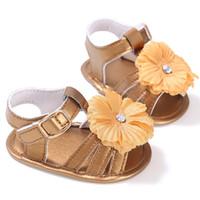 sandalias amarillas chicas al por mayor-Amarillo plateado Recién nacido / niño / sandalias Zapatos de bebé Tacones Princesa Summer Baby Sandals Girls 2019