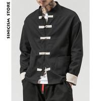 ingrosso rivestimento in nylon nero-Sinicism Store Man Windbreaker 2018 Mens Casual Pocket Nero Solid Bomber Jacket Maschio Harajuku Button Retro Fashions Jacket T2190606