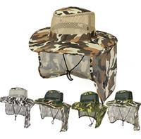 ingrosso cappelli della giungla-Cappellino mimetico Outdoor Sport Cappellino militare Jungle Cappello schermante in Sun Garza Cappello Cowboy Packable Secchiello TTA870
