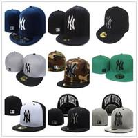 ingrosso ny cappello piatto-2018 Cappello da uomo classico Yankees attillato piatto bordo ricamato logo NY Letter Team fan NY cappelli da baseball cappellino chiuso di alta qualità
