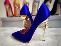 zapatos de fiesta de novia azul al por mayor-Nuevo diseñador de zapatos de mujer de tacón alto Sexy rojo Balck Royal Blue zapatos de novia de boda 2019 Summer Prom Party Wear
