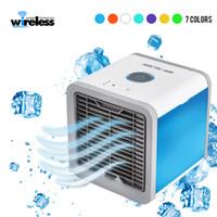 tragbarer luftbefeuchter großhandel-USB Mini Tragbare Klimaanlage Luftbefeuchter Luftreiniger 7 Farben Licht Desktop Luftkühler Lüfter Luftkühler Lüfter für Office Home