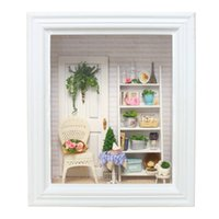 Wholesale handmade toy wood house online - DIY Wooden Miniature DollHouse Photo Frame Handmade Furniture Doll House Furniture Kit Assemble Toys For Children Gifts H053