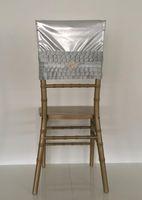 faixa cinza para cadeiras de casamento venda por atacado-2019 Cinza Cristais Tafetá Cadeira De Casamento Caixilhos Romântico Bonito Cadeira Cobre Barato Feito Sob Encomenda Do Casamento Suprimentos C05