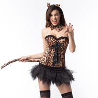Wholesale leopard cosplay sexy online - sexy overbust corset and lace tutu skirt waist cincher Burlesque Leopard printing cosplay clothing Carnival bustier