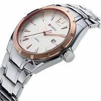 мужские часы из вольфрамовой стали оптовых-Mens Sport Date Watches Top Curren  Tungsten steel Quartz Men Watch Women Wristwatch Waterprpoof Male Clock