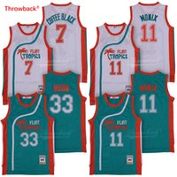camiseta de baloncesto semi profesional al por mayor-Hombres Semi Pro Movie Flint Tropics # 7 Coffee Black Jersey Wholesale # 33 Jackie Moon # 11 ED Monix Camisetas de baloncesto