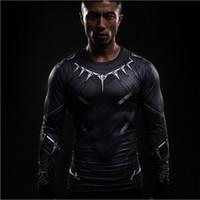 mallas de capitán américa al por mayor-Spider-Man camiseta hombre manga larga verano Capitán América Civil Guerra 3D mallas de impresión avengers Super héroe camisetas de compresión