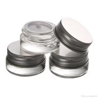 ingrosso chiodi di alluminio-Contenitore 5g 5ml in vasetto di vetro trasparente con coperchio in alluminio per balsami per labbra, creme, oli, salvi, lozioni, trucco, cosmetici, campioni, accessori per unghie