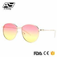 encantos leves venda por atacado-Ay-zhang Moda Sunaglsses Oval Para As Mulheres Óculos de Sol de Alta Qualidade Encantador Feminino Moderno UV400 Estilo de Luxo Óculos de Sol
