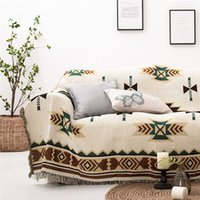 amerikanische tapisserie groihandel-American Style gestrickte Sofa Decke Boho Knit-Stuhl-Sofa-Abdeckung Handtuch Geometrischer Teppich Weiche Reise karierte Bettdecke Tapestry