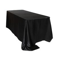 ingrosso tessuto bianco nero-ome Tovaglia in tessuto 90 x 132 pollici Tovaglia in raso rettangolare Bianco / Nero Tovaglie Tovaglia per matrimonio Party Ristorante Banqu ...