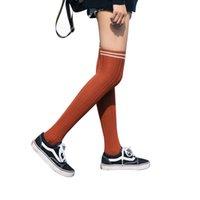 ingrosso calze donna arancione-1 paio di calzamaglia in cotone a righe sopra al ginocchio calza a righe due calzamaglia a cosciali lunghi in morbido cotone (arancione)