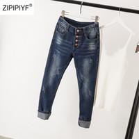 krawatte jeans für frauen großhandel-2019 Blau Grundlegende Skinny Jeans Frauen 4 Tasten Fliegen Tie Dye Jeans Lässige Denim Zerkratzte Jeans Streetwear Plus Größe 5XL