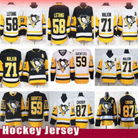 novo pinguim venda por atacado-Pittsburgh Penguins 87 Camisas de hóquei de Sidney Crosby 58 Kris Letang 71 Evgeni Malkin 59 Mensageiro de Jake Guentzel Retro 2019 Novo