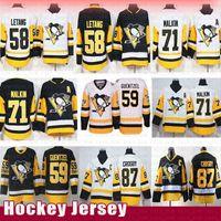 camisetas de pittsburgh 58 al por mayor-Pittsburgh Penguins 87 Jerseys de hockey Sidney Crosby 58 Kris Letang 71 Evgeni Malkin 59 Jake Guentzel Hombres Jersey Retro 2019 Nuevo