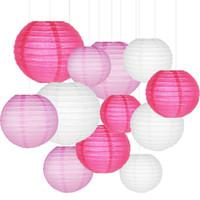 linternas de rosa al por mayor-12 Unids / set Linternas de Papel con Tamaños Clasificados Colores de Mezcla Redonda Rosa Rosa Papel Chino Lampion Boda Fiesta Colgante Decoración Favor