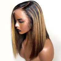 Wholesale blonde human hair half wigs resale online - 13x6 Highlight Wig Ombre Brown Short Bob Wigs Brazilian Remy Hair Honey Blonde Lace Front Wig Colored Human Hair Wigs