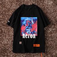 diseñador de moda casual camisa hombres al por mayor-Nueva York moda Heron impresión hombres mujeres calle de lujo de algodón informal de manga corta para hombre diseñador camisetas